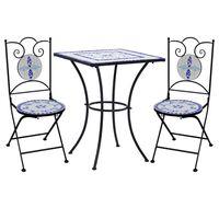 vidaXL 3-tlg. Bistro-Set Mosaik Keramik Blau und Weiß