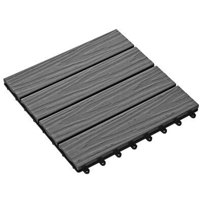 vidaXL 11 Stk. Terrassenfliesen geprägtes WPC 30x30cm 1qm Grau
