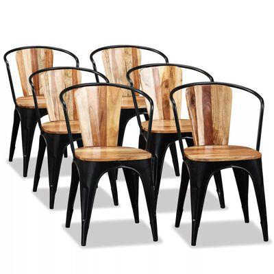 vidaXL Esszimmerstühle 6 Stk. Akazienholz Massiv