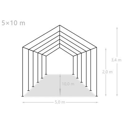 vidaXL Partyzelt PE 5x10 m Grau
