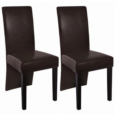 vidaXL Esszimmerstühle 2 Stk. Dunkelbraun Kunstleder