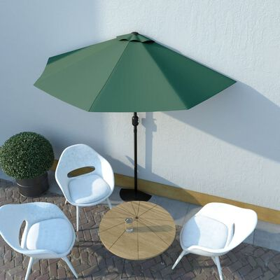 vidaXL Balkon-Sonnenschirm mit Alu-Mast Grün 270×135 cm Halbrund