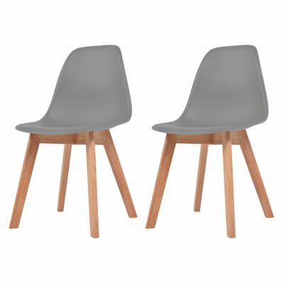 vidaXL Esszimmerstühle 2 Stk. Grau Kunststoff