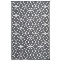Esschert Design Außenteppich Grafiken 180 x 121 cm Grau und Weiß OC25