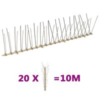 vidaXL 20-tlg. Vogelabwehr-Spikes-Set 10 m Kunststoff 4-reihig