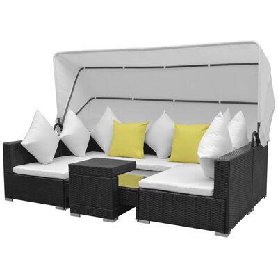 vidaXL 7-tlg. Garten-Lounge-Set mit Sonnendach Poly Rattan Schwarz, Schwarz
