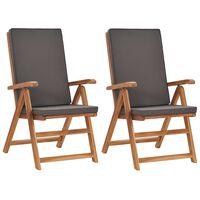 vidaXL Garten-Liegestühle 2 Stk. mit Auflagen Massivholz Teak Grau