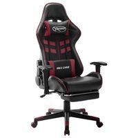 vidaXL Gaming-Stuhl mit Fußstütze Schwarz und Weinrot Kunstleder