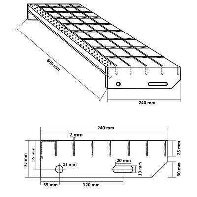 vidaXL Treppenstufen 4 Stk. Geschmiedet Verzinkter Stahl 600 x 240 mm