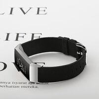 Fitbit Charge 3/4 Armband Canvas Schwarz (l)