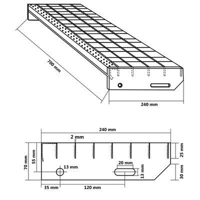 vidaXL Treppenstufen 4 Stk. Pressroste Verzinkter Stahl 700 x 240 mm