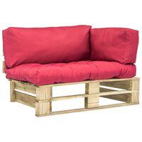 vidaXL Garten-Palettensofa mit Roten Kissen Kiefernholz
