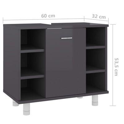 vidaXL Badezimmerschrank Hochglanz-Grau 60x32x53,5 cm Spanplatte