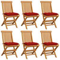 vidaXL Gartenstühle mit Roten Kissen 6 Stk. Massivholz Teak