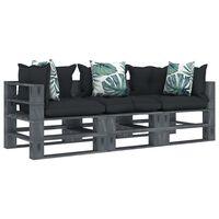 vidaXL Garten-Palettensofa 3-Sitzer mit Anthrazit- und Blumenkissen Holz