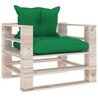 vidaXL Garten-Palettensofa mit Grünen Kissen Kiefernholz