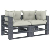 vidaXL Garten-Palettensofa 2-Sitzer mit Beigen Kissen Holz