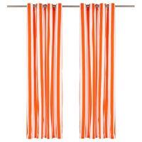 vidaXL Vorhänge mit Metallösen 2 Stk. Stoff 140x225cm Orange Streifen