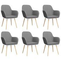 vidaXL Esszimmerstühle mit Armlehnen 6 Stk. Hellgrau Stoff