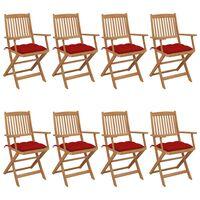 vidaXL Klappbare Gartenstühle 8 Stk. mit Kissen Massivholz Akazie