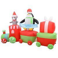 vidaXL Aufblasbarer Pinguin und Maus im Zug Weihnachten LED IP44 350cm