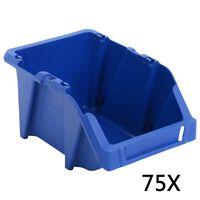 vidaXL Stapelbare Lagerboxen 75 Stk. 153 x 244 x 123 mm Blau