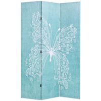 vidaXL Raumteiler klappbar 120 x 170 cm Schmetterling Blau