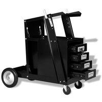 VidaXL Schweißwagen mit 4 Schubladen Schwarz