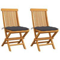 vidaXL Gartenstühle mit Anthrazit Kissen 2 Stk. Massivholz Teak