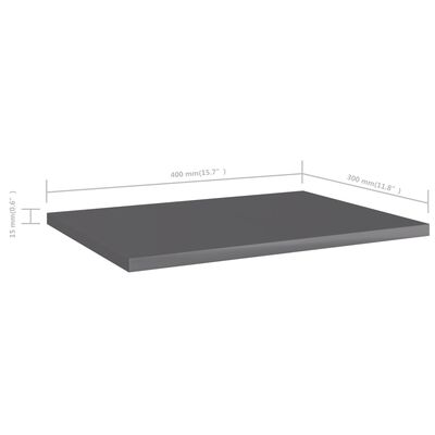 vidaXL Bücherregal-Bretter 4 Stk. Hochglanz-Grau 40x30x1,5 cm, High_gloss_grey