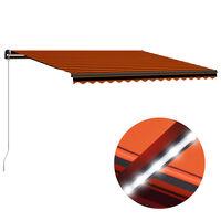 vidaXL Einziehbare Markise Handbetrieben LED 450x300cm Orange Braun