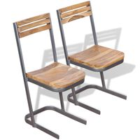 vidaXL Esszimmerstühle 2 Stk. Massivholz Teak