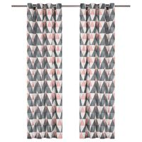 vidaXL Vorhänge mit Metallösen 2 Stk. Baumwolle 140x245cm Grau Rosa