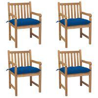 vidaXL Gartenstühle 4 Stk. mit Blauen Kissen Massivholz Teak