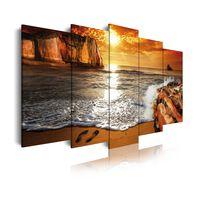 Dekoarte 263 -Bild auf Leinwand, Sonnenuntergang, 150x80cm