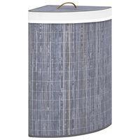 vidaXL Eck-Wäschekorb Bambus Grau 60 L