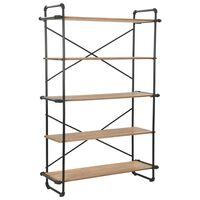 vidaXL Bücherregal aus massivem Tannenholz und Stahl 120 x 42 x180 cm