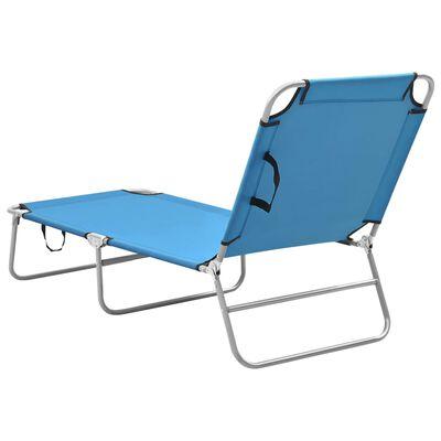 vidaXL Klappbare Sonnenliege Stahl und Stoff Türkisblau