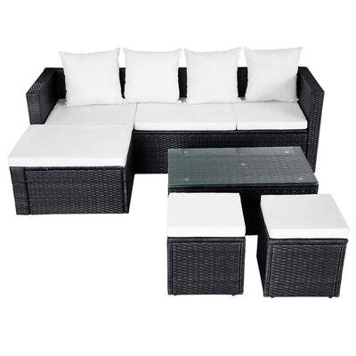 vidaXL 4-tlg. Garten-Lounge-Set mit Auflagen Poly Rattan Schwarz