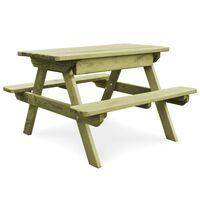 vidaXL Picknicktisch mit Bänken 90×90×58 cm Kiefernholz Imprägniert