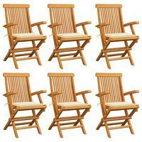 vidaXL Gartenstühle mit Cremeweißen Kissen 6 Stk. Massivholz Teak