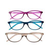 leesbrillen unisex paars/blauw/grijs 3 stuks sterkte +1.50