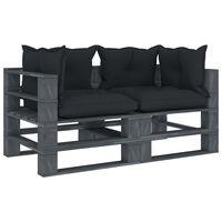vidaXL Garten-Palettensofa 2-Sitzer mit Anthrazit-Kissen Holz