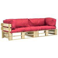 vidaXL 2-tlg. Garten-Palettensofa-Set mit Roten Kissen Kiefernholz
