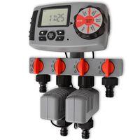 42352 vidaXL Automatischer Bewässerungs-Timer mit 4 Stationen 3 V.