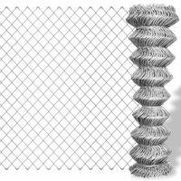 vidaXL Maschendrahtzaun Verzinkter Stahl 15×1 m Silbern