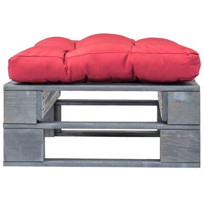 vidaXL Garten-Palettenhocker mit Rotem Kissen Holz Grau