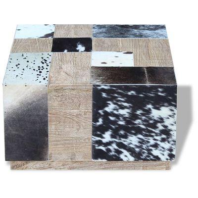 vidaXL Couchtisch Echtes Rindsleder 60x60x36 cm ,