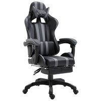 vidaXL Gaming-Stuhl mit Fußstütze Grau Kunstleder