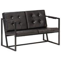 vidaXL 2-Sitzer-Sofa Schwarz Echtes Ziegenleder